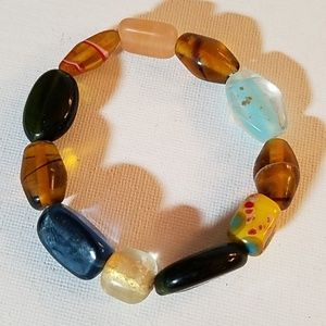 Handmade Multi Bead Stretch Bracelet 8""